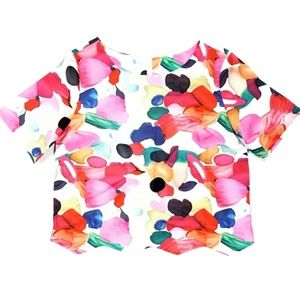 Colorful Abstract Floral Crop Top